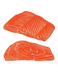80% Off Sale Salmon slices on white background. Fresh organic salmon vector illustration. (EPS, JPG)