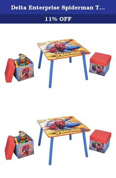 Delta Enterprise Spiderman Table and Ottoman. TT89404SM Features: -Made of solid wood.-Wipes up quick and easy. Includes: -Set includes table and two ottomans. Color/Finish: -Perfect place to eat, drink, color or just be. Assembly Instructions: -Easy assembly.