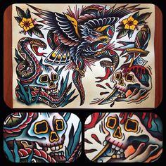 Paul Simon Kelu Traditional Tattoo Painting, Traditional Tattoo Design, Traditional Tattoos, Body Sketches, Stomach Tattoos, Pumpkin Stencil, Sailor Jerry, Tattoo Flash Art, Tattoo Designs