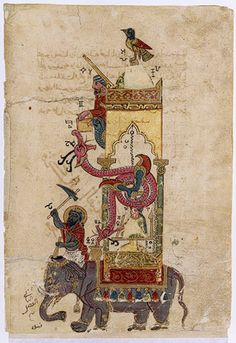 The Elephant Clock: Leaf fromThe Book of Knowledge of Ingenious Mechanical Devices by al–Jazari (1136-1206 Turkey), copyist: Farkh ibn Abd al–Latif, a rare Syrian illuminated manuscript. 1315 AD. Period: Mamluk. Ink, colors, and gold on paper.