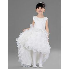Nice Ball Gown Jewel Tea-length Satin And Tulle Flower Girl Dress With Ruffle – USD $ 67.19