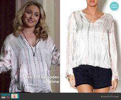 Juliette's tie dyed top with pockets on Nashville.  Outfit Details: http://wornontv.net/48501/ #Nashville