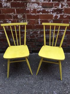 Ercol chairs painted in English yellow.