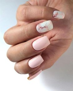 Pretty & Easy Gel Nail Designs to Copy in - Short acrylic nails coffin-Copy - Simple Gel Nails, White Gel Nails, Short Gel Nails, Square Acrylic Nails, Acrylic Nail Designs, Nail Art Designs, White Nail Designs, Square Nails, Cute Nails