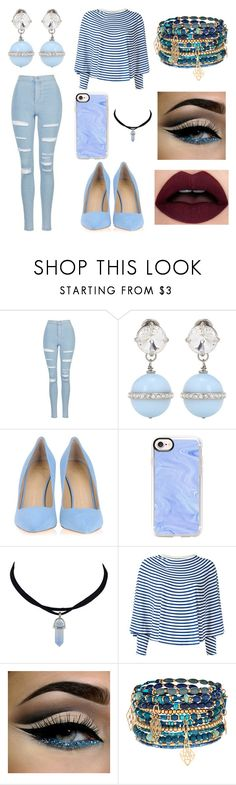 """Sem título #1"" by tumblr95 ❤ liked on Polyvore featuring Topshop, Miu Miu, Giuseppe Zanotti, Casetify, MM6 Maison Margiela and Accessorize"