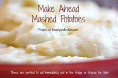 This is the BEST IN COMFORT FOODS!! Make Ahead Gourmet Mashed Potatoes!! They freeze well and are great for a bulk batch.