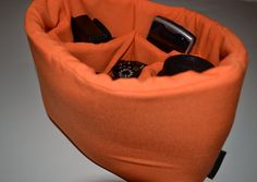 Womens camera bag Orange / Camera Bag Insert 4 your purse or backpack and photography equipment - by Darby Mack Designs