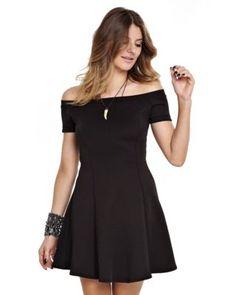 Vestido manola Pati ombrinho rodado preto