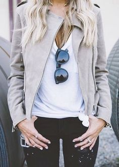 Jacket and dark jeans combo