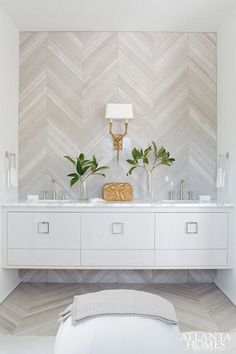 herringbone tile floors and accent wall behind the vanity. this would look great as the accent wall in the master shower. Decor, Interior Design, Atlanta Homes, Home, Interior, Chevron Tile, Beautiful Bathrooms, Bathroom Trends, Home Decor