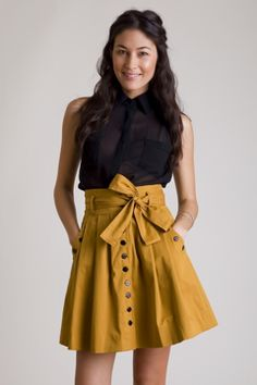 Mustard skirt with pleats and bow view B