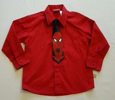 Boys Marvel Spiderman Red Button Front Dress Shirt w/ Clip On Tie Size 4 #44 in Clothing, Shoes & Accessories, Kids' Clothing, Shoes & Accs, Boys' Clothing (Sizes 4 & Up) | eBay