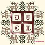 49Noelauxcerfscouleurs; Noel; Christmas cross stitch chart from France; reindeer and Christmas trees in a square around Noel; DMC color key!