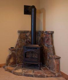 Corner Wood Stove Ideas   few elements (like wall color ...