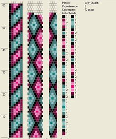 Tubular crochet bead diagram.