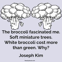 The #broccoli fascinated me. Soft miniature trees. White broccoli cost more than green. Why? Joseph Kim  #quote