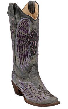 Corral® Ladies Distressed Black w/ Winged Cross Purple Inlay Snip Toe Western Boot | Cavender's Boot City $239.99