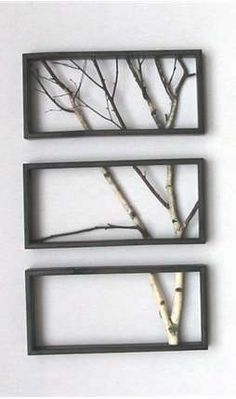 DIY - A natural wall decoration of branches in a triptych frame. - Woontrendz