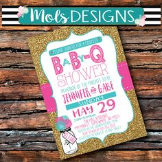 Custom Party Invitations, Digital Invitations, Baby Q Shower, I Do Bbq, Couples Baby Showers, Girl Couple, Baby Sprinkle, Pink Turquoise, Gold Glitter