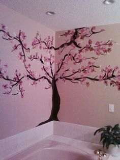 Cherry Blossom in bathroom.I love browns and pinks together! Cherry Blossom in bathroom. Wall Painting Decor, Art Decor, Room Decor, Painting Trees, Painting Walls, Art Paintings, Blossom Trees, Cherry Blossoms, Baby Art