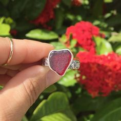 A client chose this heart shaped red for his lady. #sosweet #redseaglass