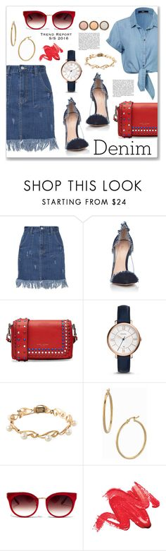 """""""Jean-ious Accessories"""" by dressedbyrose ❤ liked on Polyvore featuring Gianvito Rossi, Marc Jacobs, FOSSIL, Mikimoto, Bony Levy, Barton Perreira, By Terry, denim and polyvoreeditorial"""