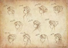 Ancient Greek Hairstyles by Ninidu on DeviantArt Ancient Greek Dress, Ancient Greek Clothing, Ancient Greece, Ancient Egypt, Ancient History, Eros And Psyche, Greece Fashion, Hair Reference, How To Draw Hair
