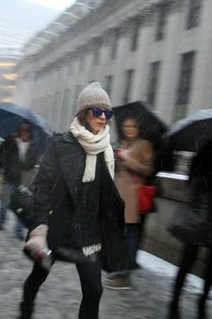 Snowy street style at New York Fashion Week: Outside Rag & Bone | StyleCaster