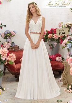6856 Designer Wedding Dresses and Bridal Gowns by Morilee. This Two-Piece Boho Wedding Gown Features a Crystal Beaded, Embroidered Bodice with Net Skirt. 2 Piece Wedding Dress, Bridal Wedding Dresses, Wedding Dress Styles, Designer Wedding Dresses, Boho Wedding, 2 Piece Bridesmaid Dress, Bohemian Weddings, 2017 Bridal, Forest Wedding