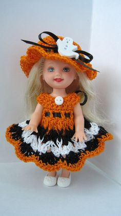Handmade Crochet Halloween to Fit 4 5 034 Kelly Doll Barbie Little Sister | eBay