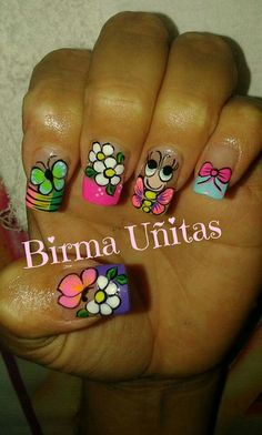 Uñas Decoradas  Birma Uñitas Cute Nail Art, Easy Nail Art, Cute Nails, Mani Pedi, Manicure And Pedicure, Spring Nails, Summer Nails, French Tip Nails, Nail Art Stickers