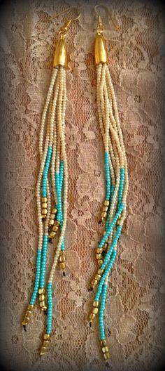Super Long Beaded earrings Tribal by Pulso