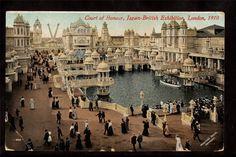 1910 Court of Honour Japan British Exhibition London UK Exposition Postcard