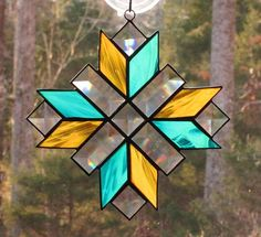 Stained Glass Suncatcher  Cross Quilt Pattern in Amber &