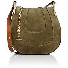 Chloé Women's Hayley Small Hobo Bag ($1,890) ❤ liked on Polyvore featuring bags, handbags, shoulder bags, green, leather shoulder handbags, leather handbags, green leather handbag, chloe handbags and brown leather shoulder bag