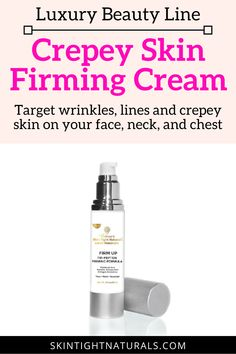 Crepey Skin Firming Cream   Tightening, Firming and Lifting Crepey Skin Cream that is specifically formulated to target wrinkles, lines and crepey skin on your face, neck, and chest. It is formulated with naturally potent ingredients that repair your skin to reveal visibly smoother, firmer, tighter and youthful-looking skin. Click to try this for your precious skin. #crepeyskincream #skinfirmingcream #wrinklescream #getridofwrinkles #skintighteningcream #skintightening #skincare #skinfirming