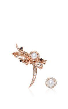 Left Butterfly Earrings With Pearl Rosette  by Anna | Moda Operandi