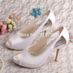 >> Click to Buy << Wedopus MW075A Custom Handmade Peep Toe Plain Upper Wedding Shoes Bride White Satin  #Affiliate