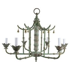 Check out this item at One Kings Lane! Patinated Solid Brass Pagoda Chandelier
