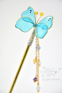 Wirewrap butterfly hairpin-resin butterfly-resin от FloralSymphony