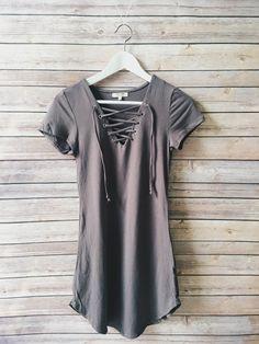 Walker Lace Up Dress (Gray)