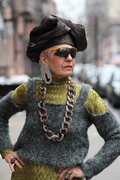 ADVANCED STYLE: Creative Dressing With Debra Rapoport wearing clip earrings from SoLo.