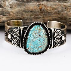 CALVIN MARTINEZ Navajo Ingot Silver RARE Edgar #8 Turquoise Bracelet Sterling