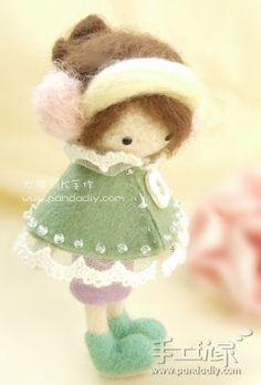 用羊毛毡制作的针毡娃娃  Dry felting idea