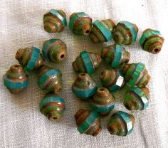 19 8x7mm Small Delicate Translucent Aqua Blue Green Picasso Faceted Czech Glass Turbine Beads,  delicate, earthy, rustic beads C00219