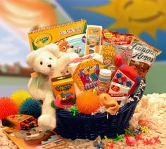 The Kids Famous Activity Gift Basket has everything inside that will keep a kid busy for hours on end. It features many games and activities like water colors, silly putty, a porcupine ball,a travel g