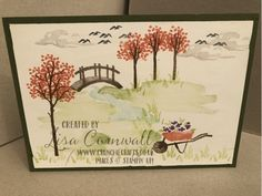 My Meadow - Crunchie Crafts Image C, Tree Trunks, Basic Grey, Shades Of Green, Stampin Up, Vintage World Maps, Journey, Scene, Create