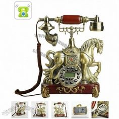Grand Horse Sculpture Antique Telephone Customized by China Manufacturer, Personalized Printed Your Brand Logo or Message - The Most Trusted Promotional Gifts Supplier. Vintage Phones, Vintage Telephone, Retro Phone, Call Me Maybe, Home Phone, Televisions, Horse Sculpture, Vintage Iron, Irons