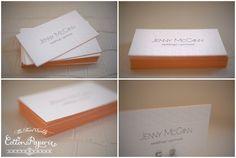 Letterpress Business Cards   one color letterpress with blind deboss & edge paint