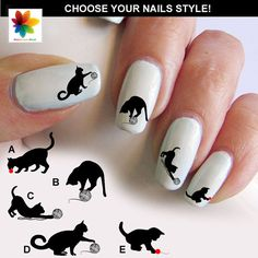 cat silhouette, kitten, cat, cat play, 75 nail transfer, crystal clear background, different  size